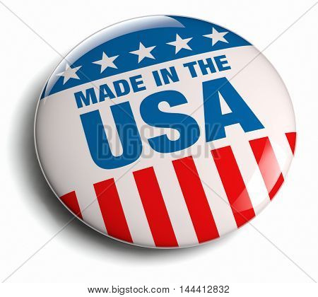 Made in the USA round button with American flag elements. Isolated on white and including clipping path.
