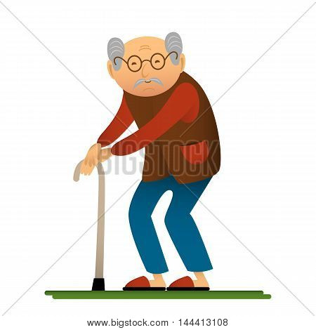 Funny illustration of old man with cane cartoon character.