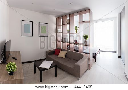 Panoramic view of the modern spacious living room