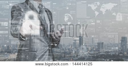 Business Man In Grey Suit Point On Lock Icon, Data Security Concept, Big Data Management Conceptual