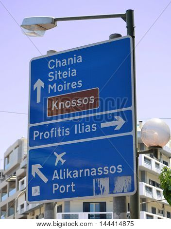 Signpost in Heraklion City Center in the English Language