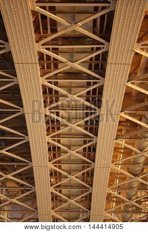 Under the Margit Bridge, view from the Margit Island, Budapest, Hungary, Europe