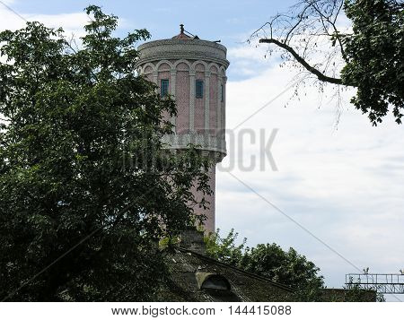 Minsk, Belarus - August 18, 2016 : The building of the old water tower at the station Baranavichy - Polesskiye