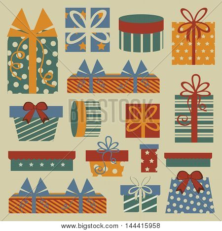 Retro Christmas set with gift boxes. Vector illustration