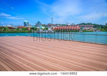 SINGAPORE - JUL 9 2016 : Sentosa has a theme park sand beach resort yacht marina hotel and luxury residence in Singapore.