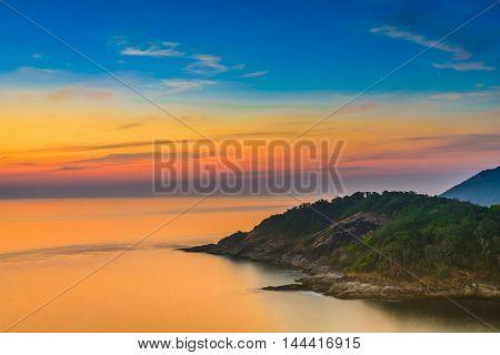 Viewpoint andaman sea at twilight sky in PhuketThailand