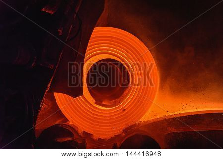 Hot-rolled steel process plant in steel industry