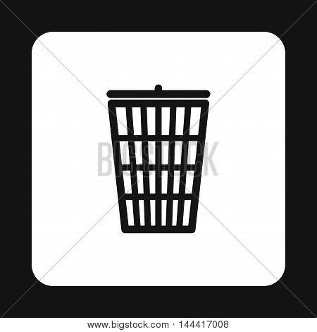 Trash basket icon in simple style isolated on white background. Sanitation symbol
