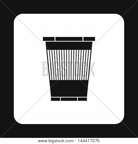 Plastic waste bin icon in simple style isolated on white background. Sanitation symbol