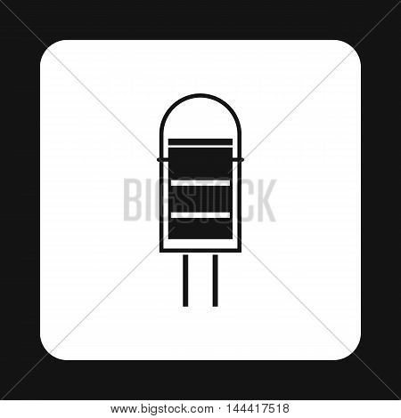 Trash bin for street icon in simple style isolated on white background. Sanitation symbol