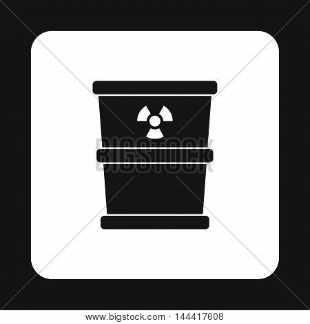 Bucket for hazardous waste icon in simple style isolated on white background. Sanitation symbol