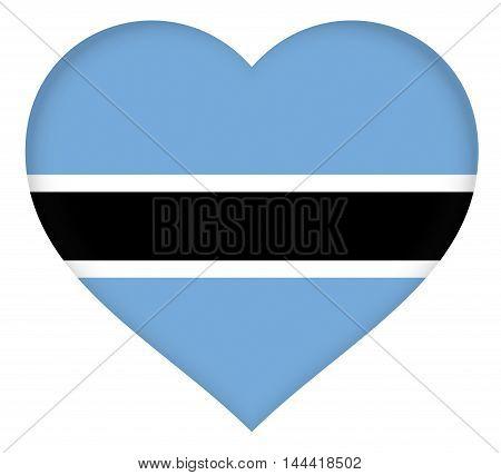 Illustration of the national flag of Botswana shaped like a heart