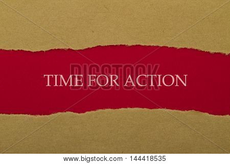TIME FOR ACTION message written under torn paper.