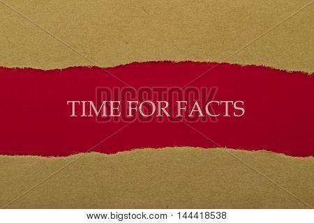Time for facts message written under torn paper