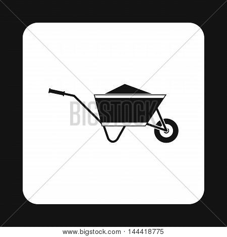 Wheelbarrow with sand icon in simple style isolated on white background. Trash symbol
