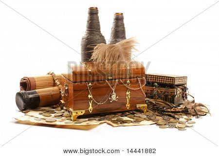 Treasure chest isolated on white background