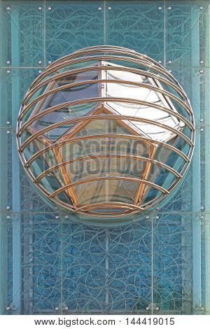 Pentagon Polygon Shapes in Modern Globe at Blue Glass Building