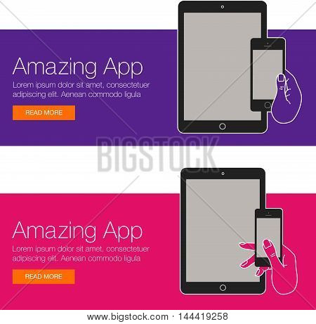 Realistic vector laptop, tablet computer, monitor and mobile phone template. Template of mobile devices for web site and banner. Colorful vector banner for social media with smartphone and laptop