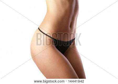 Belly of beautiful woman isolated on white