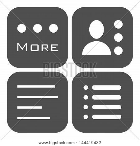 Hamburger menu icons set. Vector gray symbols collection isolated on white background.