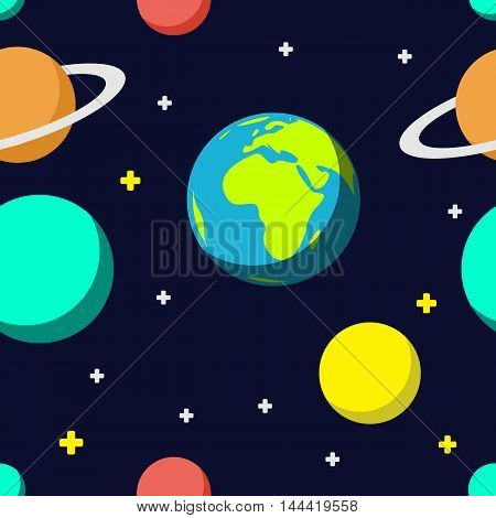 Outer space cartoon seamless pattern background with colorful planets and stars. Vector flat illustration. Travel flight to other planets