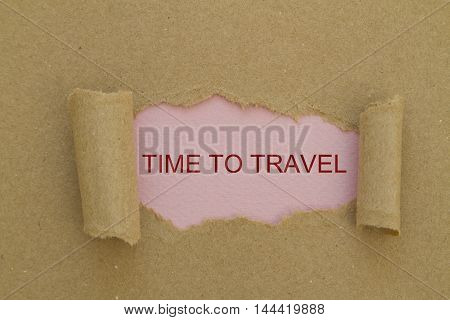 TIME TO TRAVEL message written under torn paper.