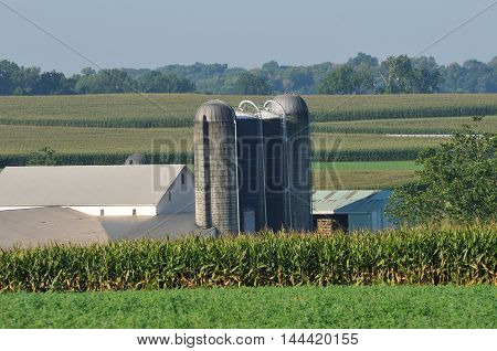 Landscape of agriculture farm with slio in rural Lancaster Pennsylvania