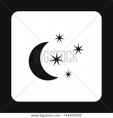 Crescent and star icon in simple style isolated on white background. Night sky symbol