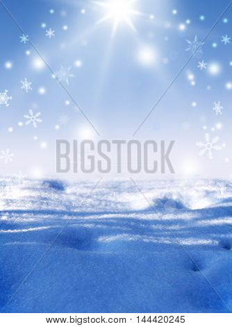 Winter Magic. Abstract background with falling snow and light rays snowflakes bokeh. Christmas. New Year. Snowstorm. Winter morning. Winter sun shines.