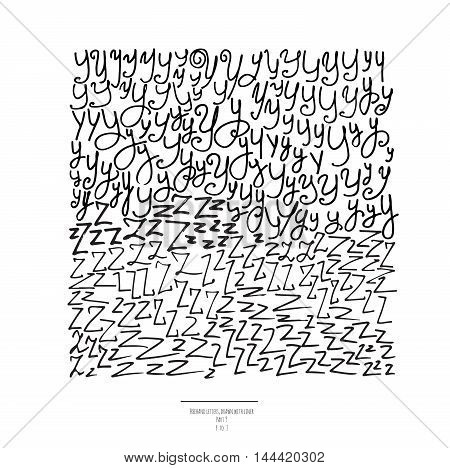 Large vector set of hand drawn with black liner letters isolated on white background. Part 9 includes letter Z and letter Y. Collection of freehand letters in different shapes and styles