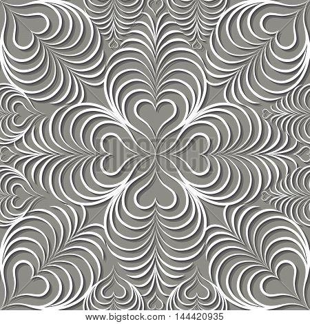 Abstract Seamless Pattern Floral Arabic Geometric Heart Shape Li