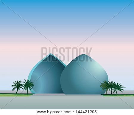 Cityscape of Baghdad capital of Iraq. Travel famous places in Western Asia city. Al-Shaheed monument view. Vector illustration