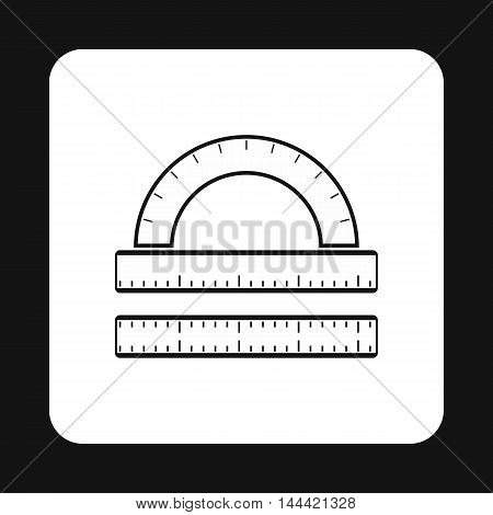 Measuring ruler icon in simple style isolated on white background. Drawing symbol