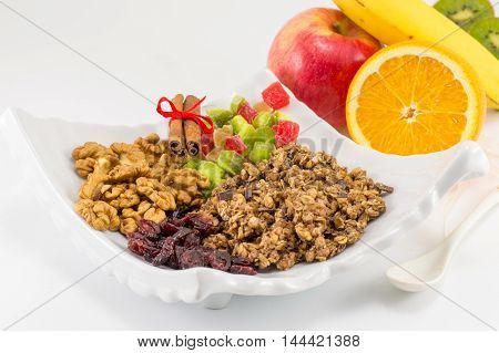 Granola Muesli With Fruit For Healthy Breakfast