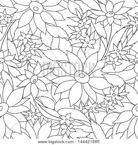 Floral seamless outline pattern. Flower engraving background. Floral ornamental monohrome texture with flowers. Spring flourish garden coloring page illustration.