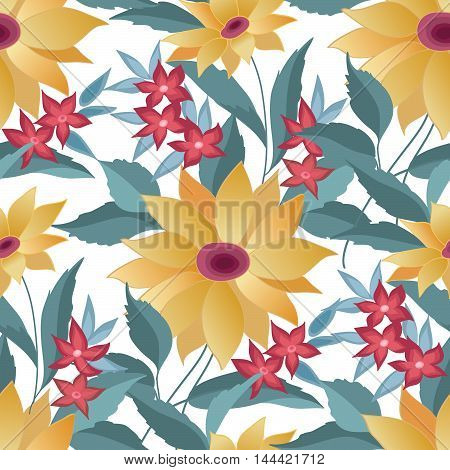 Floral seamless pattern. Flower sunflower background. Abstract floral ornamental texture with flowers. Spring flourish garden. Fantastic flowers  motif ornament
