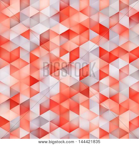 Vector Seamless Multicolor Gradient Triangle Shape Grid Red Grey Shades Pattern. Abstract Geometric Background Design