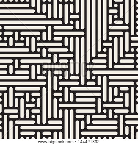 Vector Seamless Rounded Irregular Rounded Maze Lines Pattern. Abstract Geometric Background Design