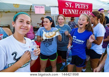 Elizabethtown PA - August 26 2016: Fair season in Lancaster County signals the end of summer but the beginning of fair food like funnel cakes.