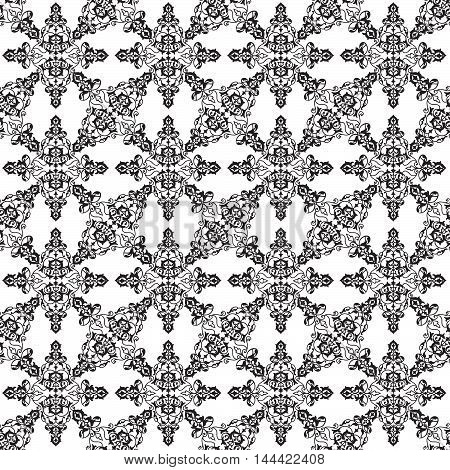 Flourish lace line pattern. Abstract floral geometric seamless  background. Fantastic flowers and hearts ornament