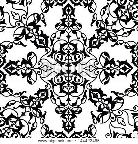 Floral pattern. Arabic ornament with fantastic flowers and leaves. Flourish lace oriental background.