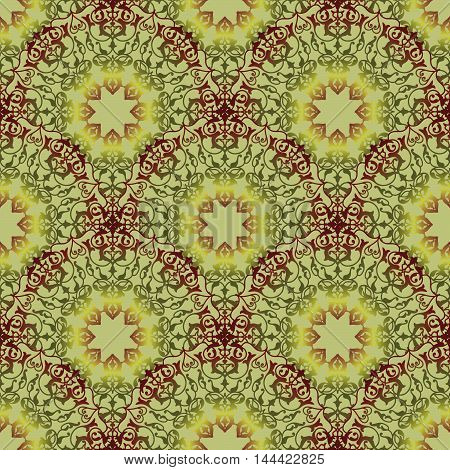 Oriental floral seamless pattern. Flower geometric ornamental background. Floral ethnic tiled ornament with flowers. Arabic muslim flourish motif for pattern design