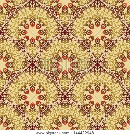 Abstract flourish seamless pattern Floral golden mandala holiday ornament. Stylish abstract ornamental lace background