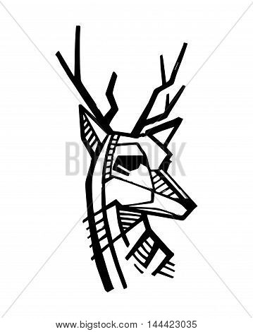 Hand drawn vector illustration or drawing of a deer head