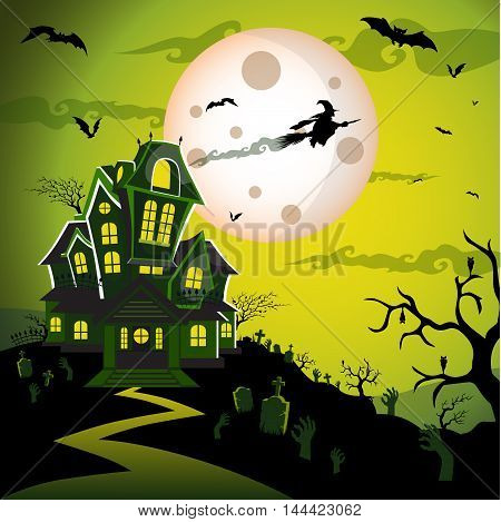Witch flying on a magic broomstick over the spooky haunted house castle with full moon in background with bat, tree, tomb, tombstone, grave, and graveyard. Happy halloween theme. Happy halloween greeting card. Vector illustration eps10