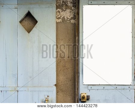 Antique Blue Wooden Doors With A White Panel In Blank.
