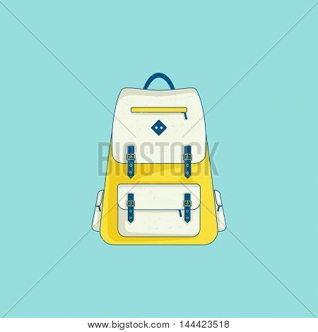 Backpack - design element of tourist trip, hiking equipment, education, walking. Line flat icon with grunge texture. Trendy modern color. Vector illustration for your design, projects, websites or app