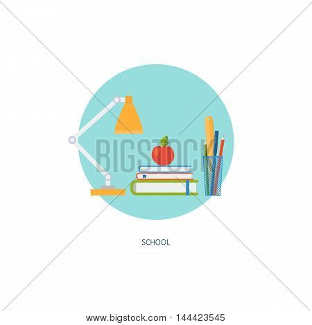 School icon in circle. Creative concept of education and online learning. Time management. Flat design, minimalist style, modern colours. Vector illustration for web, banners, infographics, app, sites