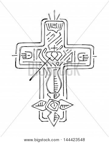 Hand drawn vector illustration or drawing of a Cross with dfferent religious symbols