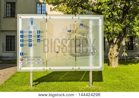 Krakow Poland - August 26 2016: Information board on Wawel.